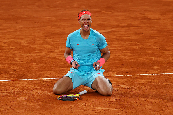 Nadal celebrates after his ace to clinch a 13th French Open title (Julian Finney)