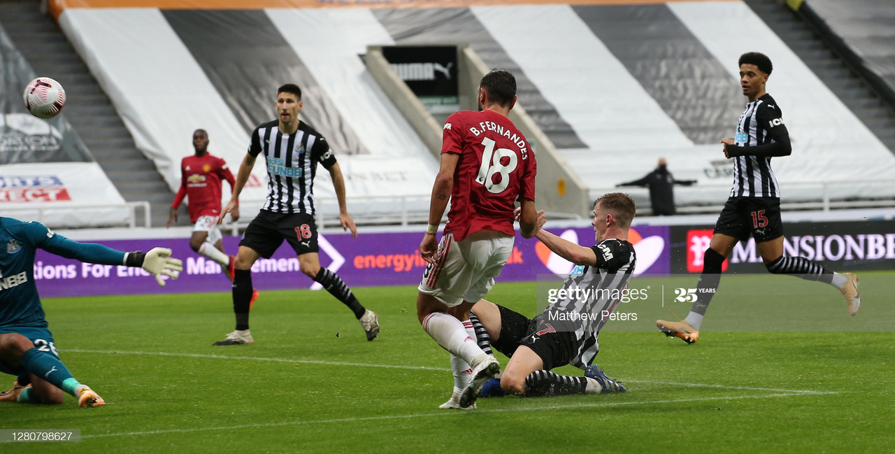 <div>NEWCASTLE UPON TYNE, ENGLAND - OCTOBER 17: Bruno Fernandes of Manchester United scores their second goal during the Premier League match between Newcastle United and Manchester United at St. James Park on October 17, 2020 in Newcastle upon Tyne, England. Sporting stadiums around the UK remain under strict restrictions due to the Coronavirus Pandemic as Government social distancing laws prohibit fans inside venues resulting in games being played behind closed doors. (Photo by Matthew Peters/Manchester United via Getty Images)</div><div><br></div>