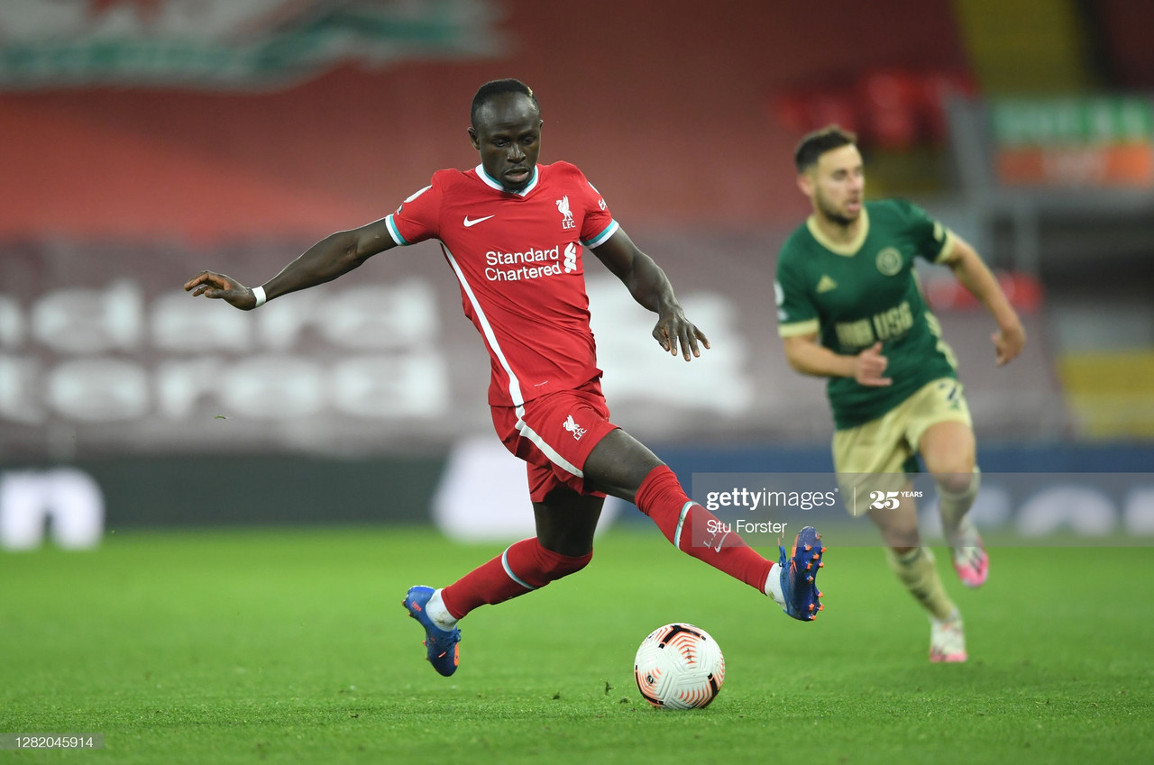 LIVERPOOL, ENGLAND - OCTOBER 24: Liverpool player Sadio Mane in action during the Premier League match between Liverpool and Sheffield United at Anfield on October 24, 2020 in Liverpool, England. Sporting stadiums around the UK remain under strict restrictions due to the Coronavirus Pandemic as Government social distancing laws prohibit fans inside venues resulting in games being played behind closed doors. (Photo by Stu Forster/Getty Images)