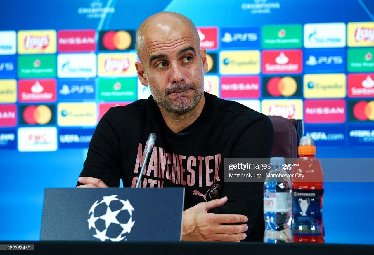 Pep Guardiola addresses the press ahead of tomorrow night's Champions League group stage clash with Olympiacos | Matt McNulty/Getty Images