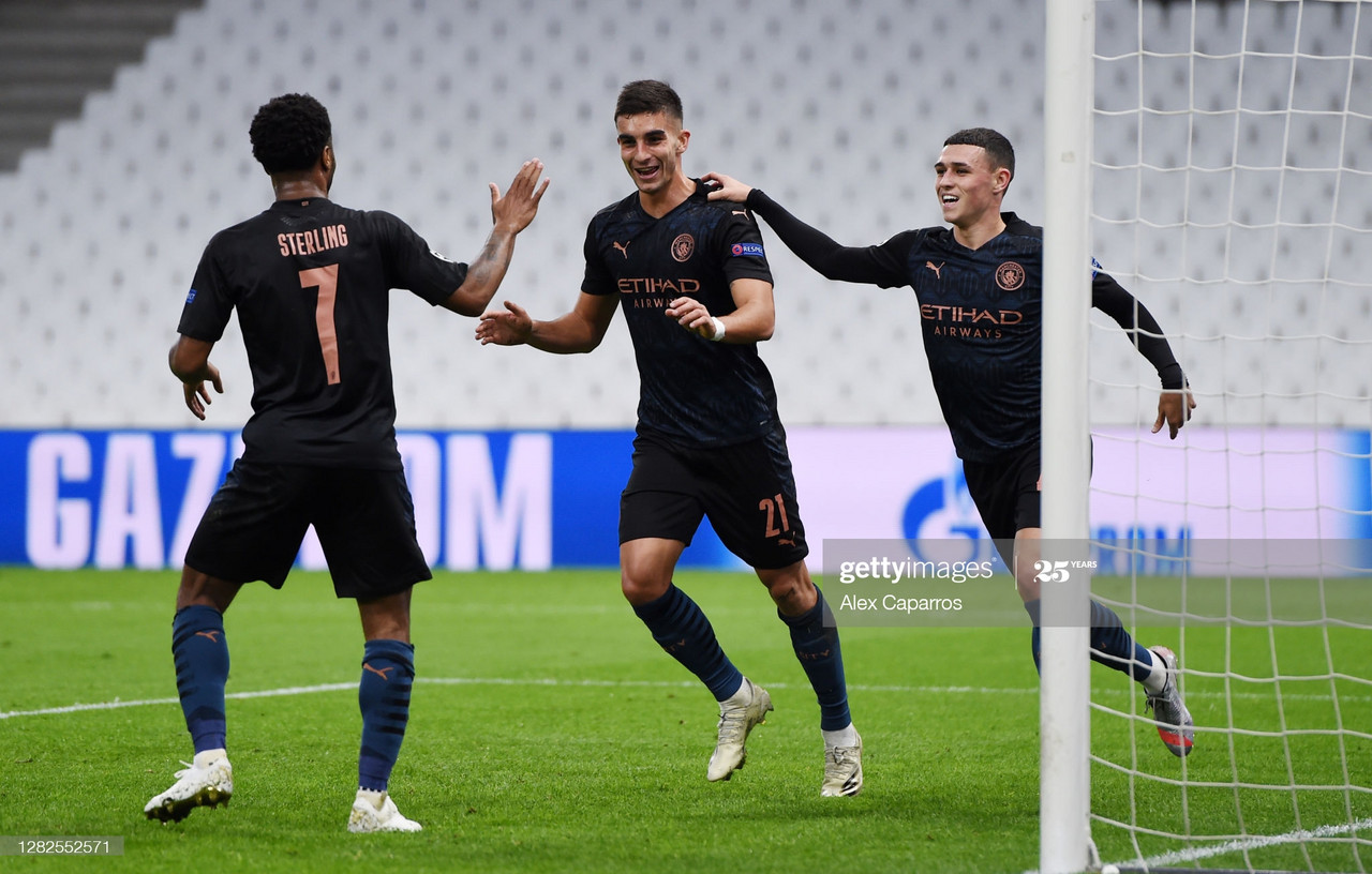 <div>Above: Farran Torres celebrates the opening goal for Manchester City</div><div>(Photo by Alex Caparros/Getty Images)<br></div>