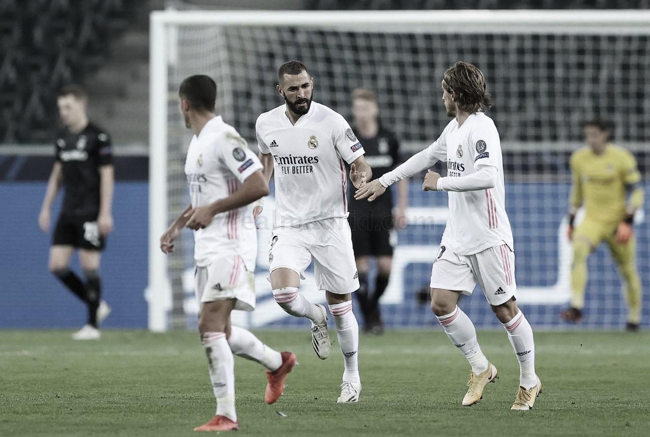 Karim Benzema y Luka Modric celebran el 2-1 anotado por el francés | Fuente: www.realmadrid.com