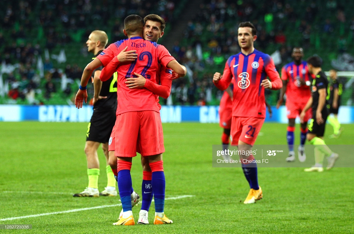 Hakim Ziyech of Chelsea celebrates with his team mates after scoring his sides third goal during the UEFA Champions League Group E stage match between FC Krasnodar and Chelsea FC at Krasnodar Stadium on October 28, 2020 in Krasnodar, Russia. (Photo by Chris Lee - Chelsea FC/Chelsea FC via Getty Images)