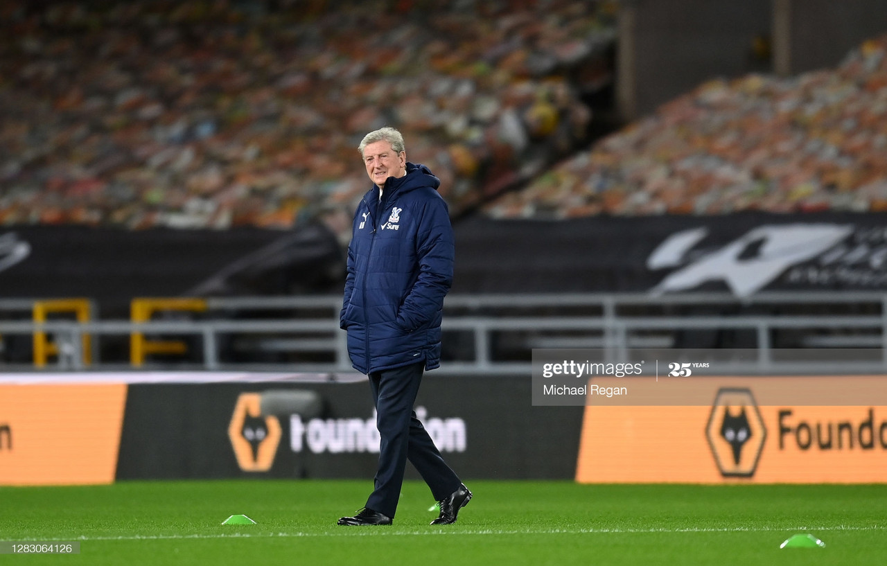 WOLVERHAMPTON, ENGLAND - OCTOBER 30: Roy Hodgson, Manager of Crystal Palace looks on during a pitch inspection prior to the Premier League match between Wolverhampton Wanderers and Crystal Palace at Molineux on October 30, 2020 in Wolverhampton, England. Sporting stadiums around the UK remain under strict restrictions due to the Coronavirus Pandemic as Government social distancing laws prohibit fans inside venues resulting in games being played behind closed doors. (Photo by Michael Regan/Getty Images)