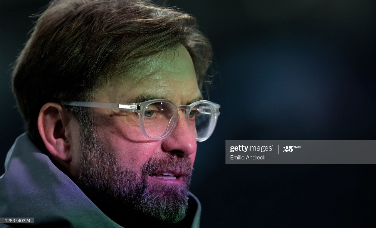 BERGAMO, ITALY - NOVEMBER 03: Liverpool FC head coach Jurgen Klopp looks on prior to the UEFA Champions League Group D stage match between Atalanta BC and Liverpool FC at Gewiss Stadium on November 03, 2020 in Bergamo, Italy. (Photo by Emilio Andreoli/Getty Images)