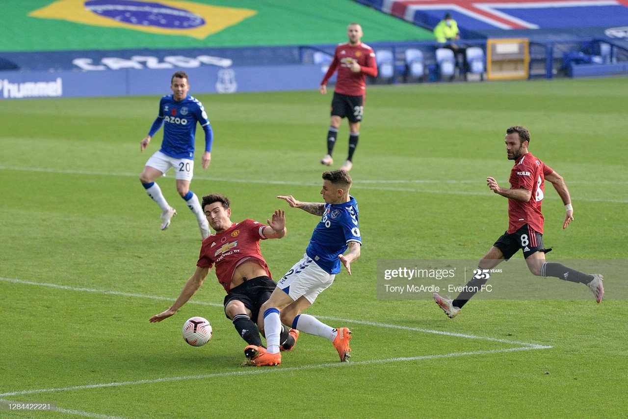 <div>LIVERPOOL, ENGLAND - NOVEMBER 7: Lucas Digne of Everton (R) is tackled by Harry Maguire during the Premier League match between Everton and Manchester United at Goodison Park on November 7 2020 in Liverpool, England. (Photo by Tony McArdle/Everton FC via Getty Images)</div><div><br></div>