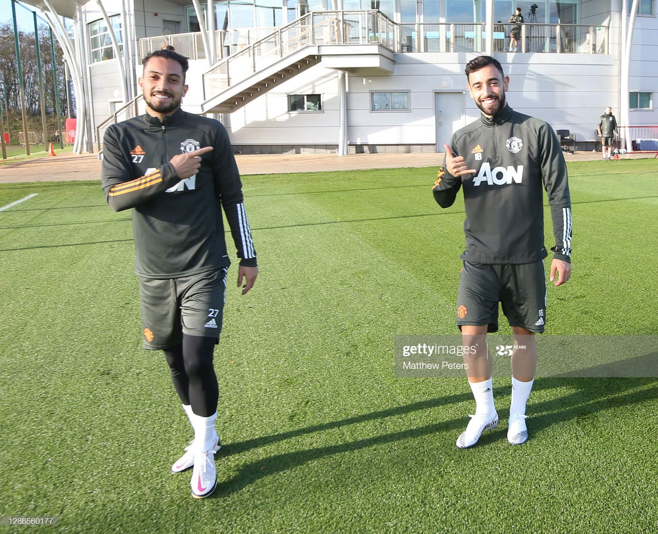 MANCHESTER, ENGLAND - NOVEMBER 19: (EXCLUSIVE COVERAGE) Bruno Fernandes and Alex Telles of Manchester United in action during a first team training session at Aon Training Complex on November 19, 2020 in Manchester, England. (Photo by Matthew Peters/Manchester United via Getty Images)