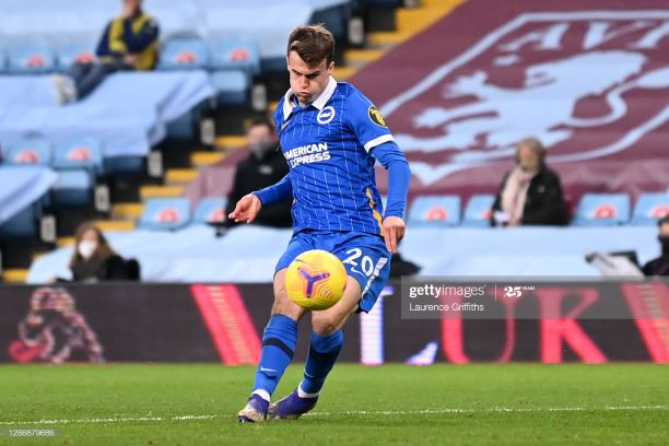 BIRMINGHAM, ENGLAND - NOVEMBER 21: Solly March of Brighton and Hove Albion scores his team's second goal during the Premier League match between Aston Villa and Brighton & Hove Albion at Villa Park on November 21, 2020 in Birmingham, England. Sporting stadiums around the UK remain under strict restrictions due to the Coronavirus Pandemic as Government social distancing laws prohibit fans inside venues resulting in games being played behind closed doors. (Photo by Laurence Griffiths/Getty Images)
