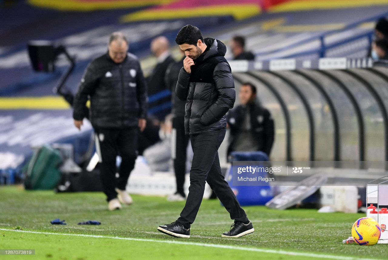 Arsenal boss Mikel Arteta, despondent at the final whistle at Elland Road. Photo: Michael Regan/Getty Images.