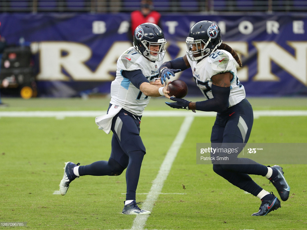 BALTIMORE, MARYLAND - NOVEMBER 22: A.J. Brown #11 of the Tennessee Titans runs against DeShon Elliott #32 of the Baltimore Ravens during the game at M&T Bank Stadium on November 22, 2020 in Baltimore, Maryland. (Photo by Patrick Smith/Getty Images)
