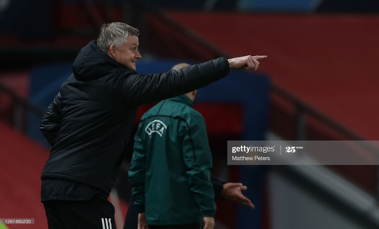 <div>MANCHESTER, ENGLAND - NOVEMBER 24: Manager Ole Gunnar Solskjaer of Manchester United watches from the touchline during the UEFA Champions League Group H stage match between Manchester United and İstanbul Basaksehir at Old Trafford on November 24, 2020 in Manchester, England. (Photo by Matthew Peters/Manchester United via Getty Images)</div>
