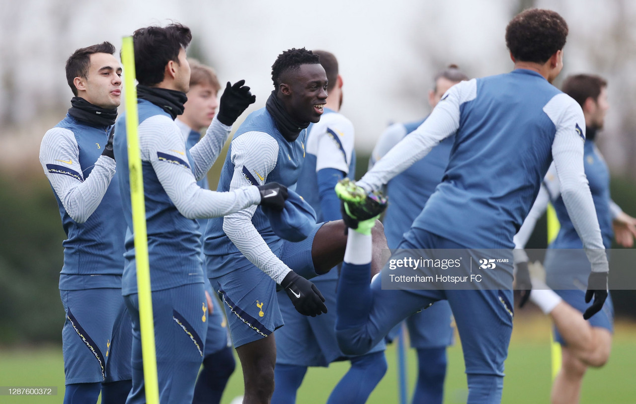 ENFIELD, ENGLAND - NOVEMBER 25: Davinson Sanchez of Tottenham Hotspur during the Tottenham Hotspur training session at Tottenham Hotspur Training Centre ahead of the UEFA Europa League Group J stage match between Tottenham Hotspur and PFC Ludogorets Razgrad at Tottenham Hotspur Stadium on November 25, 2020 in London, United Kingdom. (Photo by Tottenham Hotspur FC/Tottenham Hotspur FC via Getty Images)<br>