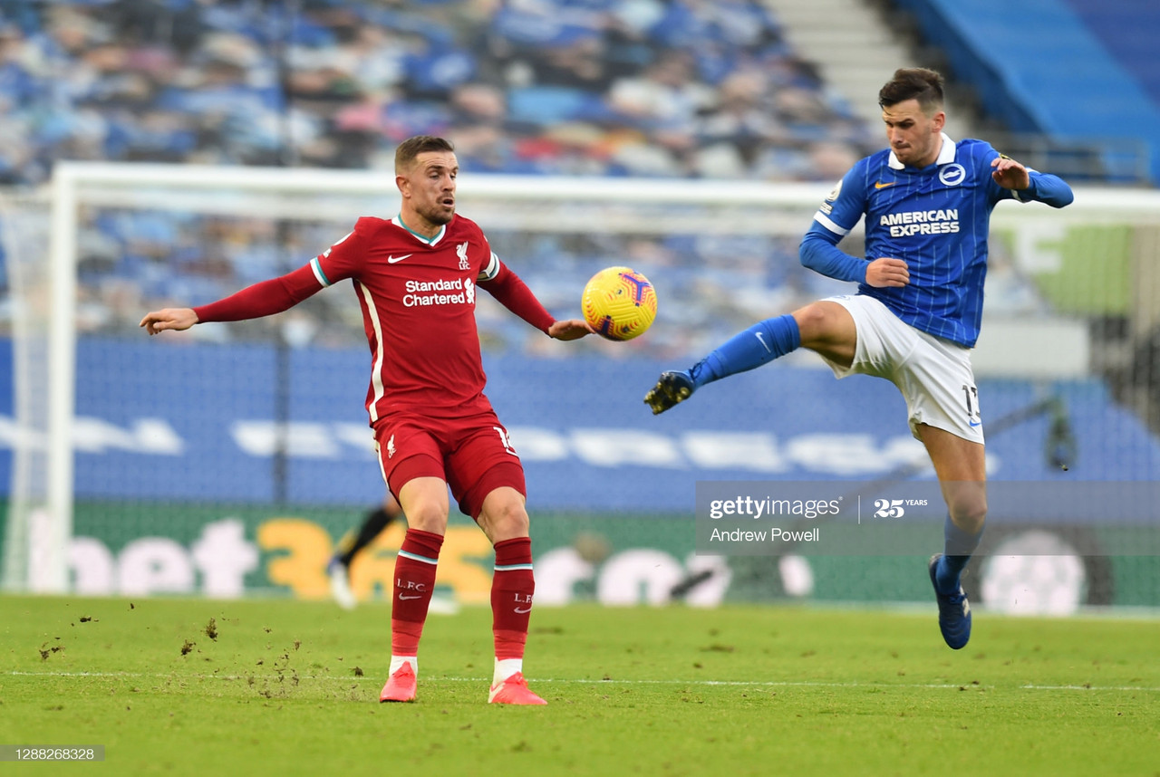'We move on and keep going', Jordan Henderson urges Reds to harness frustrations after Brighton draw