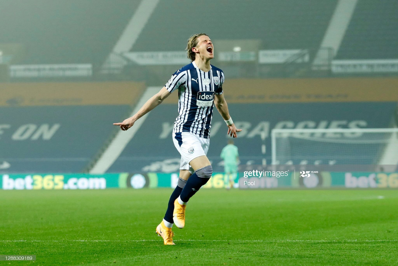 Conor Gallagher of West Bromwich Albion celebrates after scoring his team's first goal during the Premier League match between West Bromwich Albion and Sheffield United at The Hawthorns on November 28, 2020 in West Bromwich, England. Sporting stadiums around the UK remain under strict restrictions due to the Coronavirus Pandemic as Government social distancing laws prohibit fans inside venues resulting in games being played behind closed doors. (Photo by Andrew Boyers - Pool/Getty Images)