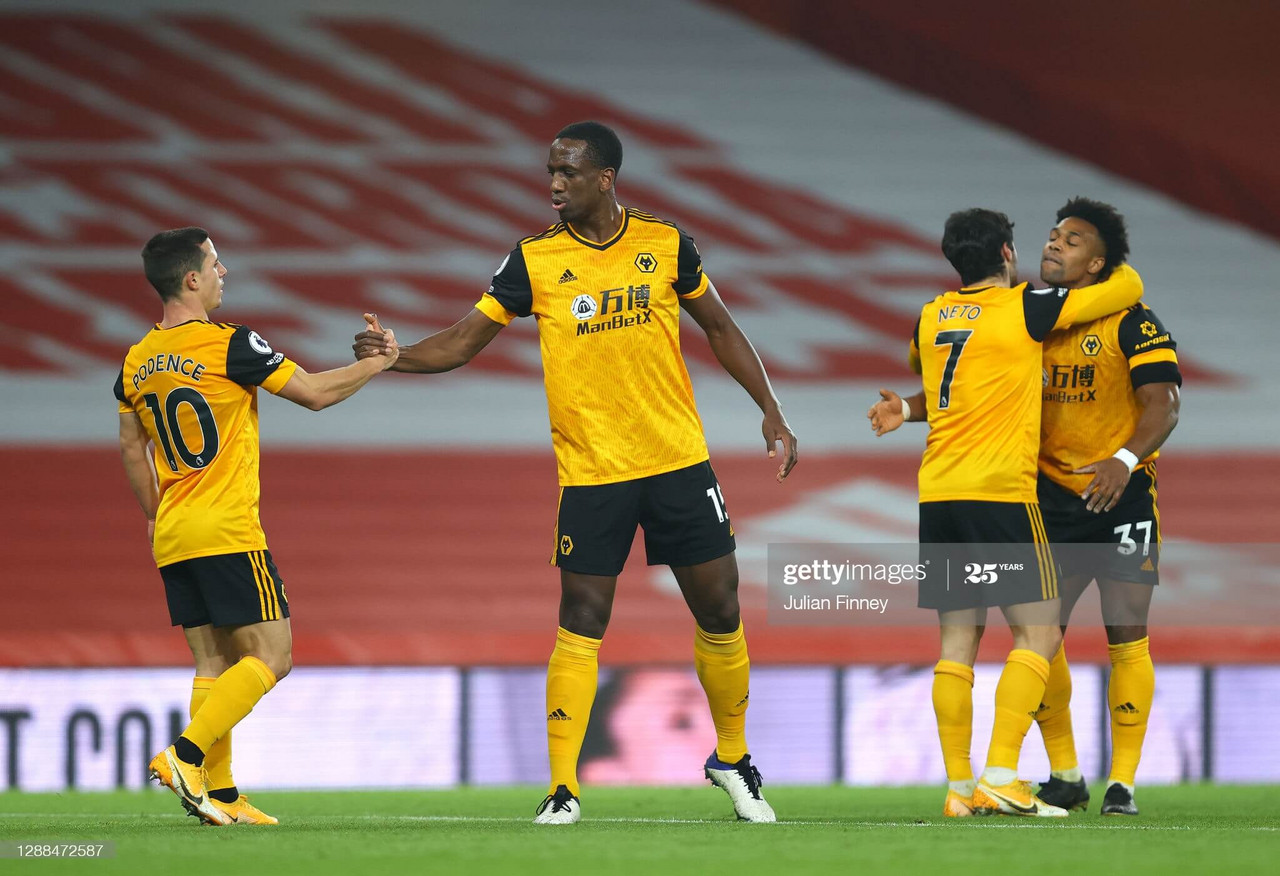 Wolves celebrate the opener. Photo by Julian Finney/Getty Images