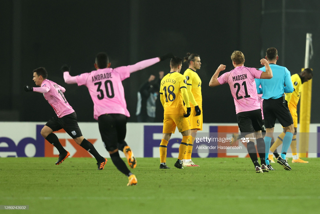 LINZ, AUSTRIA - DECEMBER 03: Peter Michorl of LASK celebrates after scoring their team's first goal during the UEFA Europa League Group J stage match between LASK and Tottenham Hotspur at Linzer Stadion on December 03, 2020 in Linz, Austria. Sporting stadiums around Austria remain under strict restrictions due to the Coronavirus Pandemic as Government social distancing laws prohibit fans inside venues resulting in games being played behind closed doors. (Photo by Alexander Hassenstein/Getty Images)