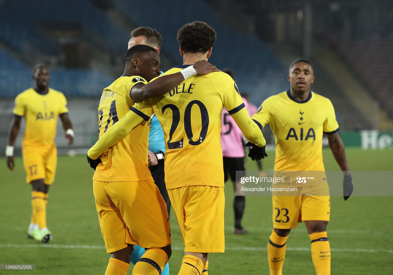 <div>LINZ, AUSTRIA - DECEMBER 03: Dele Alli of Tottenham Hotspur celebrates with Serge Aurier after scoring their team's third goal during the UEFA Europa League Group J stage match between LASK and Tottenham Hotspur at Linzer Stadion on December 03, 2020 in Linz, Austria. Sporting stadiums around Austria remain under strict restrictions due to the Coronavirus Pandemic as Government social distancing laws prohibit fans inside venues resulting in games being played behind closed doors. (Photo by Alexander Hassenstein/Getty Images)</div><div><br></div>