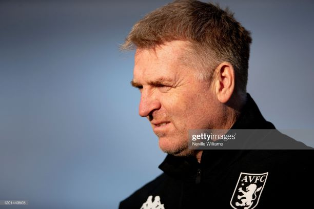 BIRMINGHAM, ENGLAND - DECEMBER 15: Dean Smith head coach of Aston Villa in action during a training session at Bodymoor Heath training ground on December 15, 2020 in Birmingham, England. (Photo by Neville Williams/Aston Villa FC via Getty Images)