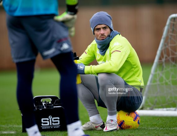 BIRMINGHAM, ENGLAND - DECEMBER 22: Jack Grealish of Aston Villa in action during training session at Bodymoor Heath training ground on December 22, 2020 in Birmingham, England. (Photo by Neville Williams/Aston Villa FC via Getty Images)