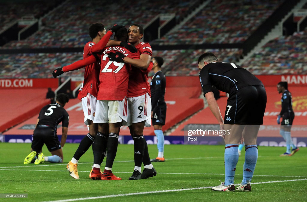 Manchester United 2-1 Aston Villa: United level on points with Liverpool at top of the table after they hang on for victory
