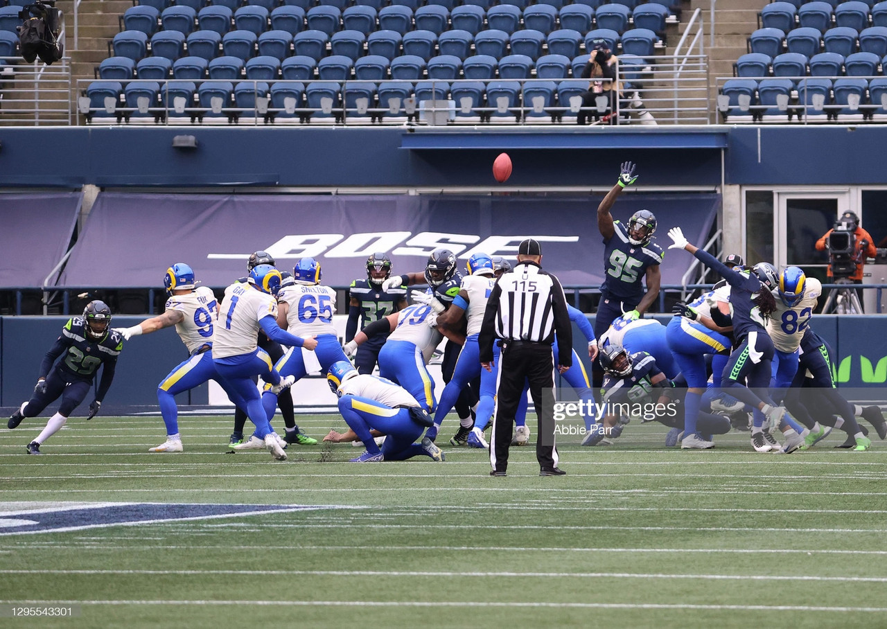 SEATTLE, WASHINGTON - JANUARY 09: Kicker Matt Gay #1 of the Los Angeles Rams completes a 39-yard field goal during the second quarter of the NFC Wild Card Playoff game against the Seattle Seahawks at Lumen Field on January 09, 2021 in Seattle, Washington. (Photo by Abbie Parr/Getty Images)