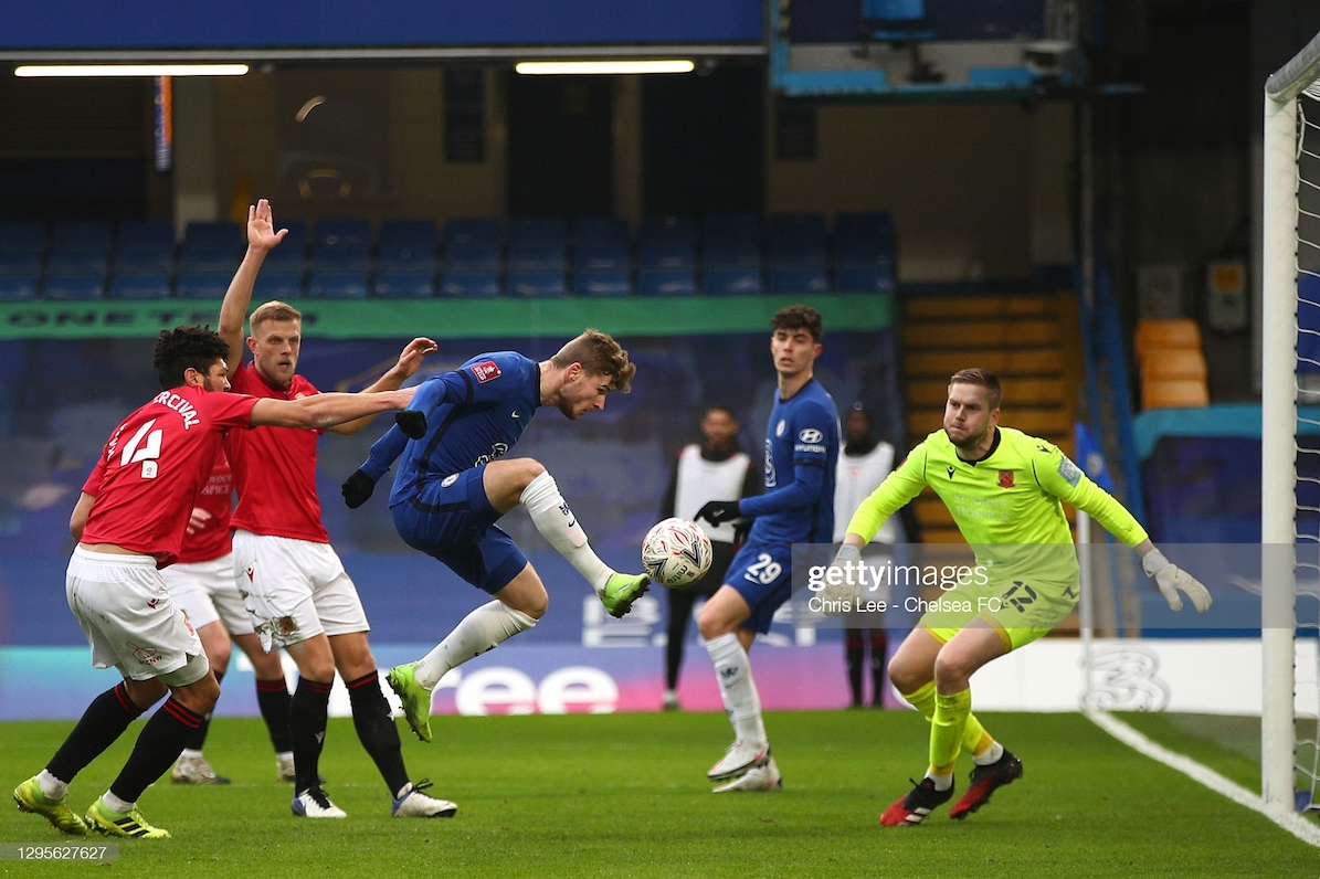 Timo Werner of Chelsea scores their side's second goal during the FA Cup Third Round match between Chelsea and Morecombe at Stamford Bridge on January 10, 2021 in London, England. Sporting stadiums around England remain under strict restrictions due to the Coronavirus Pandemic as Government social distancing laws prohibit fans inside venues resulting in games being played behind closed doors. (Photo by Chris Lee - Chelsea FC/Chelsea FC via Getty Images)