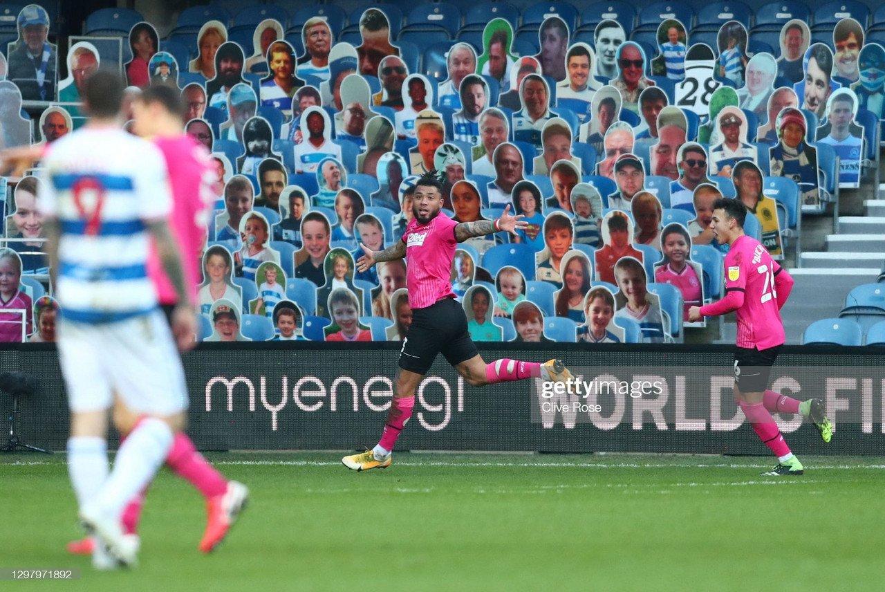 Colin Kazim-Richards of Derby County celebrates after scoring the winner via Clive Rose