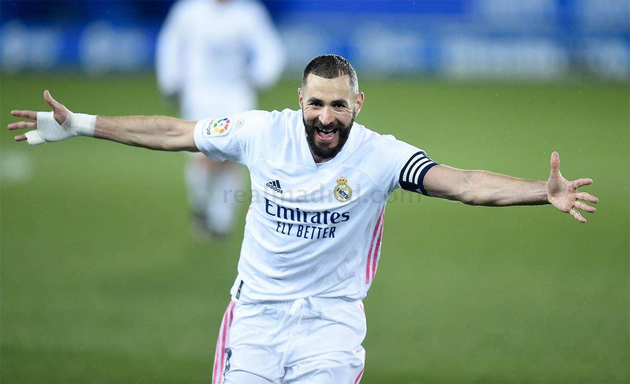 Benzema al marcar uno de los goles | Foto: Real Madrid CF