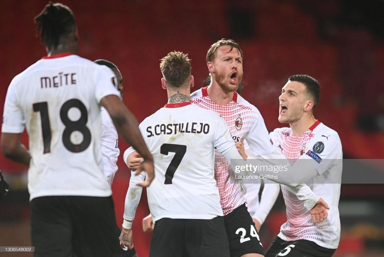 Manchester United 1-1 AC Milan: Late Kjaer goal denies United first-leg win