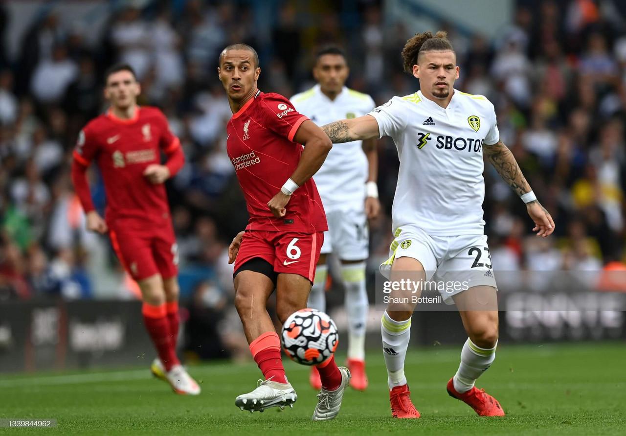 Thiago wins midfield battle over Leeds' Phillips
