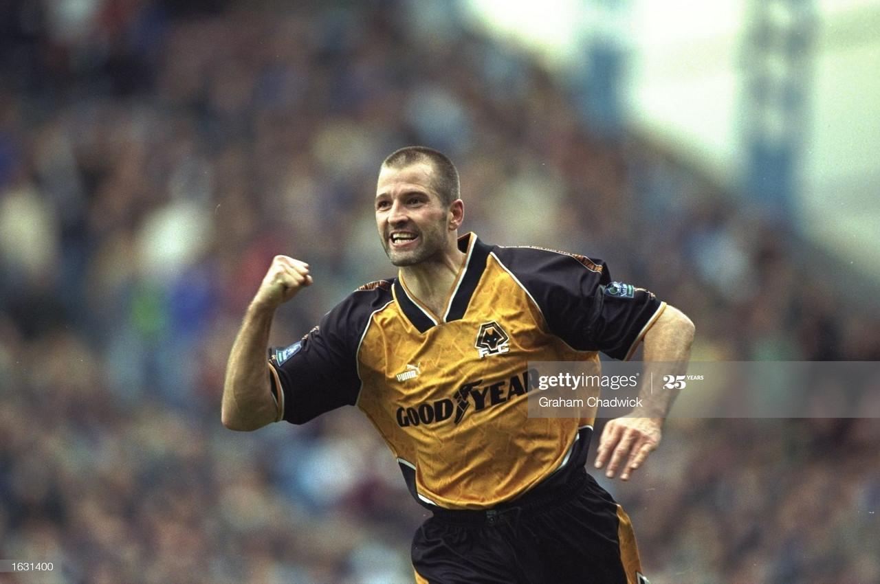Steve Bull celebrating scoring one of his 306 goals for Wolves.