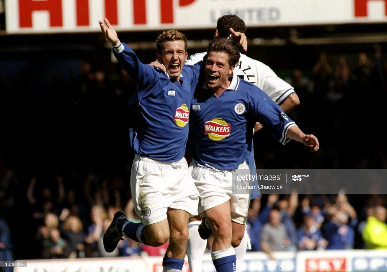 <div>22 Aug 1998: Muzzy Izzet and Tony Cottee of Leicester celebrate against Everton in the FA Carling Premiership match at Filbert St in Leicester in England. Leicester won 2-0. \ Mandatory Credit: Graham Chadwick /Allsport</div><div><br></div>