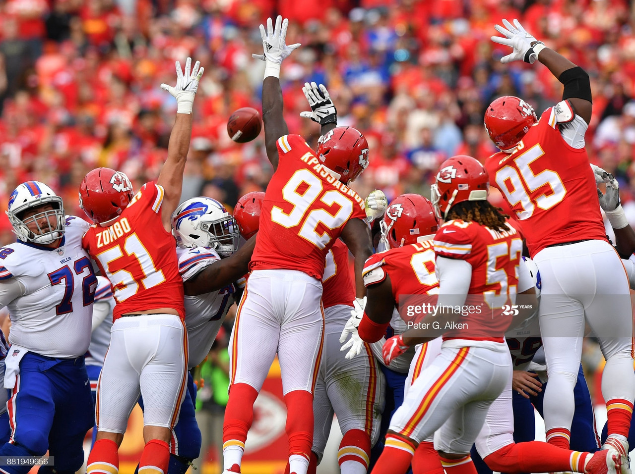 KANSAS CITY, MO - NOVEMBER 26: Players of the Kansas City Chiefs attempt to block a field goal against the Buffalo Bills during the first half at Arrowhead Stadium on November 26, 2017 in Kansas City, Missouri. (Photo by Peter G. Aiken/Getty Images