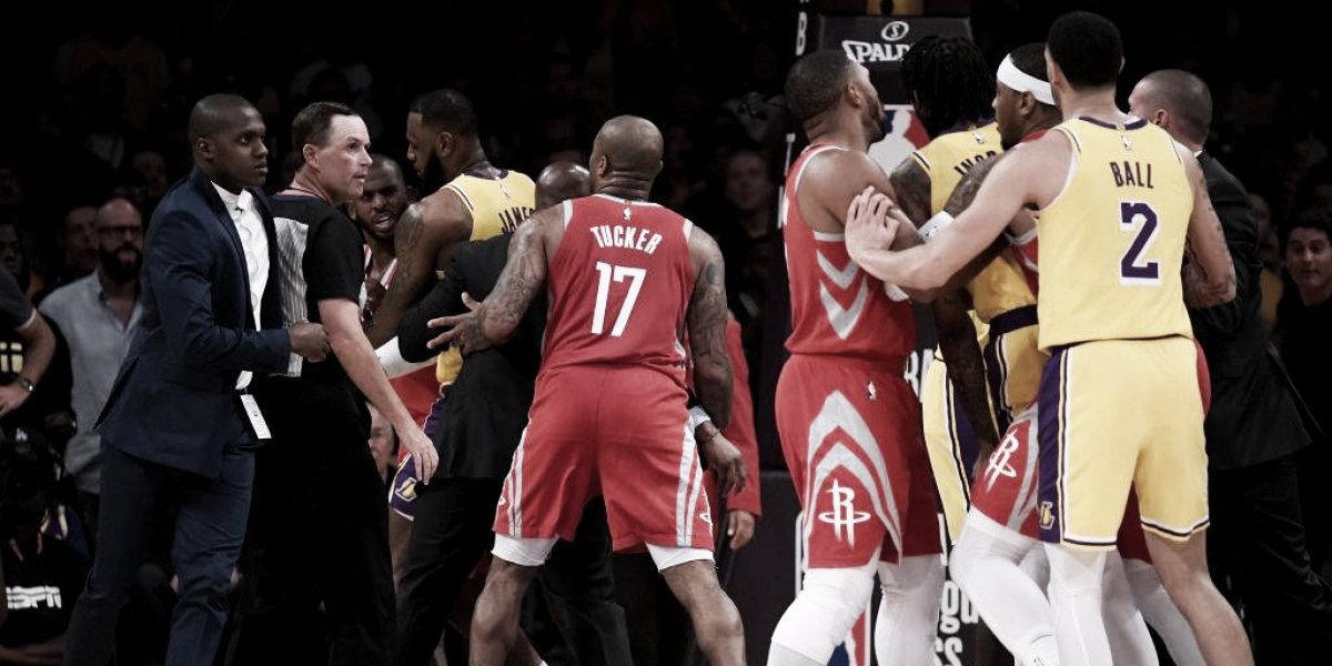 Pelea en el duelo entre los Lakers y los Rockets