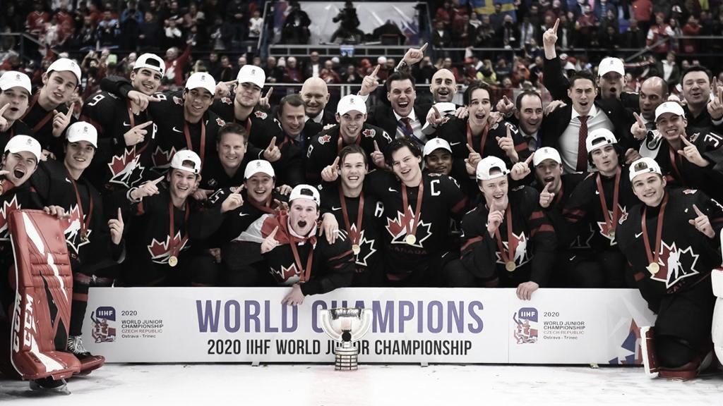 La Selección de Canadá junior, tras su oro en el Mundial de 2020 | Fuente: NHL.com
