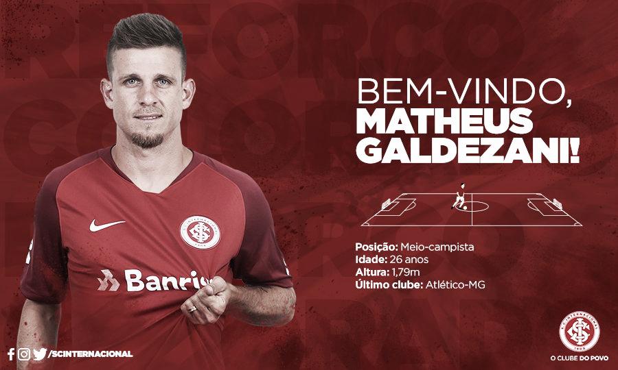 Internacional oficializa contratação do volante Matheus Galdezani, ex-Coritiba