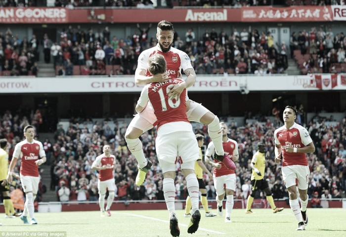 Arsenal 4-0 Aston Villa: Giroud bags trois as Villans bid au revoir to the Premier League