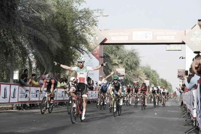 Cav freccia di Abu Dhabi . Batte Viviani ed è leader