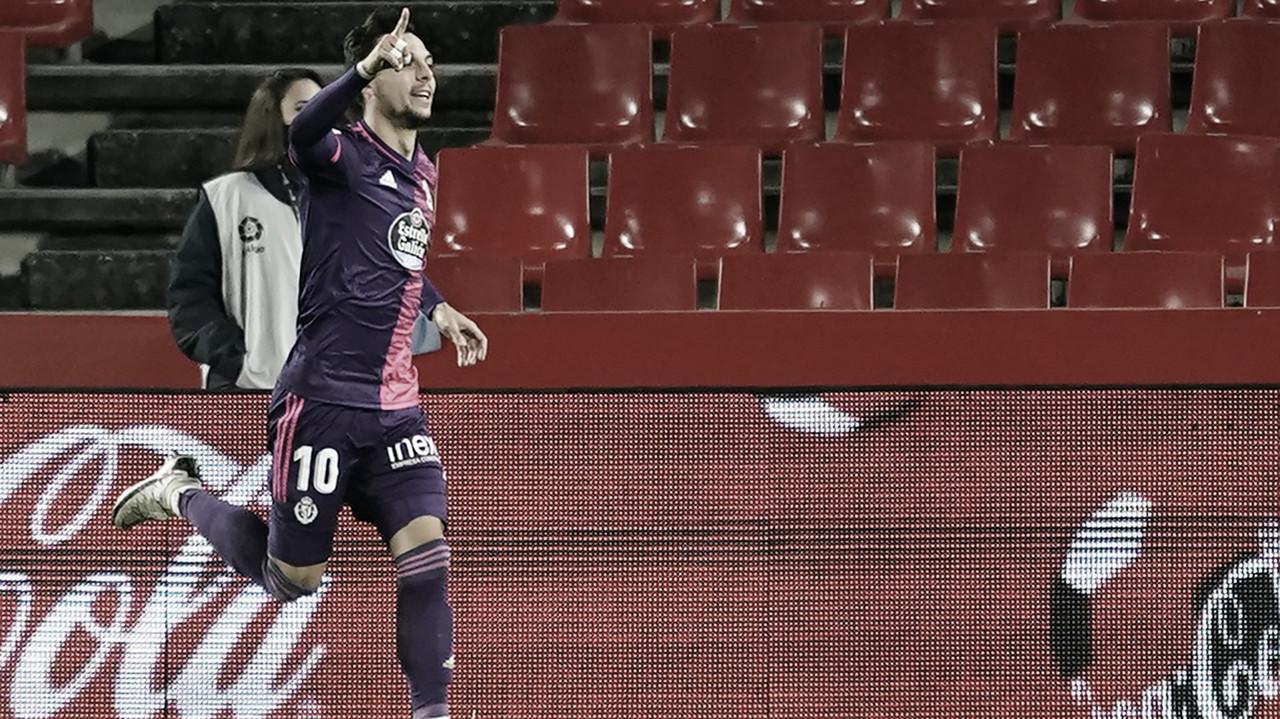 Óscar Plano celebra el gol frente al Granada// FOTO: RealValladolid.es