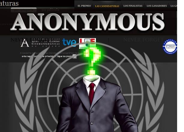 Anonymous logra colarse en los Goya y bloquear su página oficial