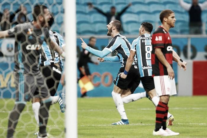 Em vitória suada, Grêmio bate Flamengo pelo placar mínimo com gol do zagueiro Fred
