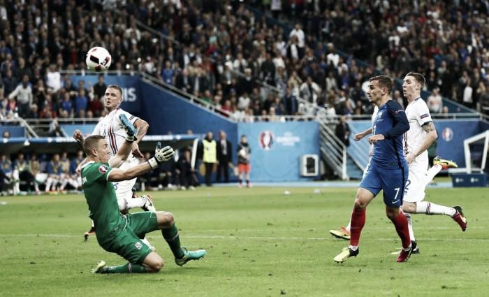 Griezmann marca centésimo gol da Euro, França goleia Islândia e encara Alemanha na semifinal