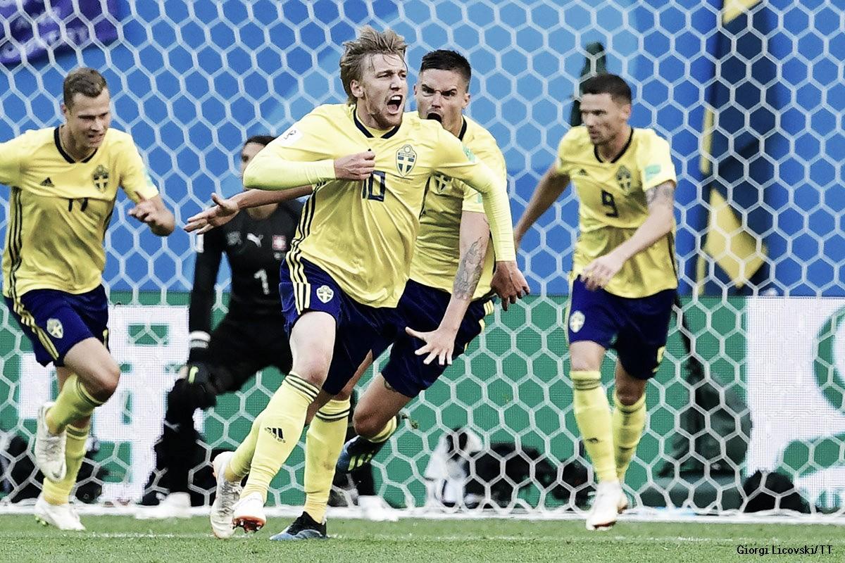 Suécia bate Suíça pelo placar mínimo e vai às quartas de final após 24 anos