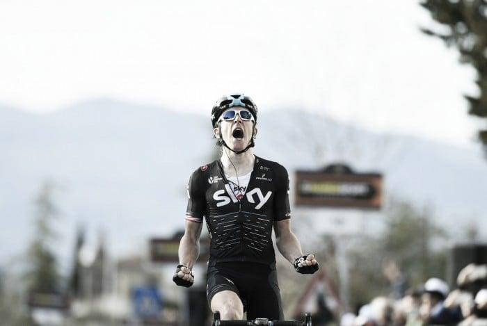 Tirreno-Adriatico, guizzo di Geraint Thomas a Pomarance. Van Avermaet maglia azzurra