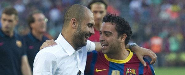 Pep y Xavi, pasado y presente, dos mitos del barcelonismo. (Fuente: Mundo Deportivo).
