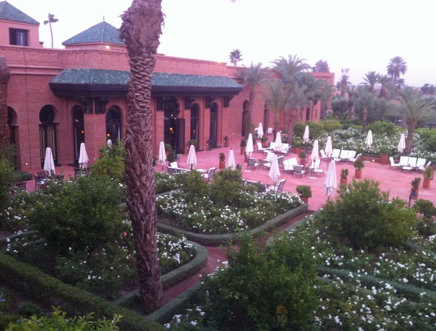 Hotel onde o Atlético-MG ficará hospedado em Marrakesh (Foto: Armando Oliveira / TV Globo Minas)