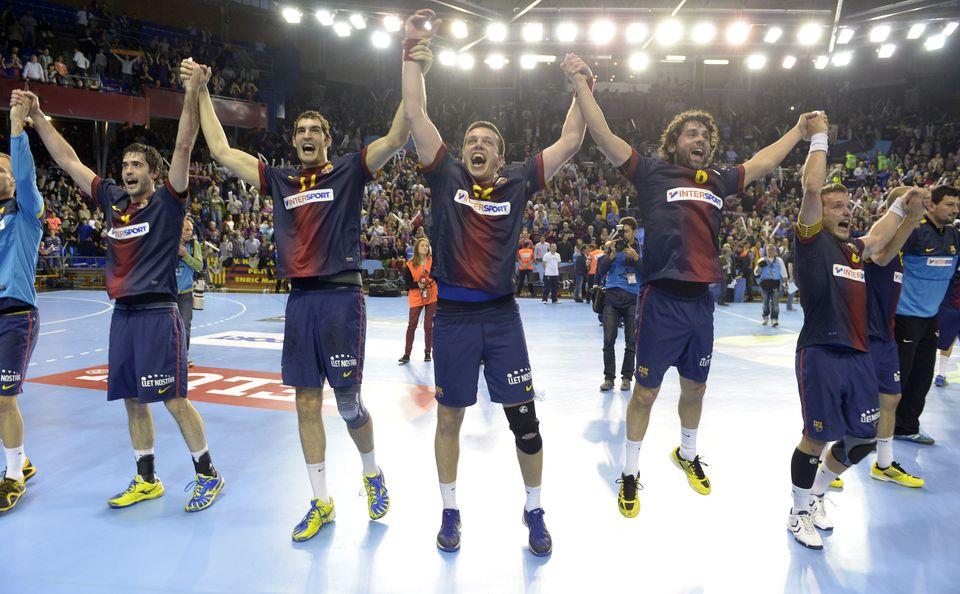 Los jugadores del Barça, celebrando la remontada.