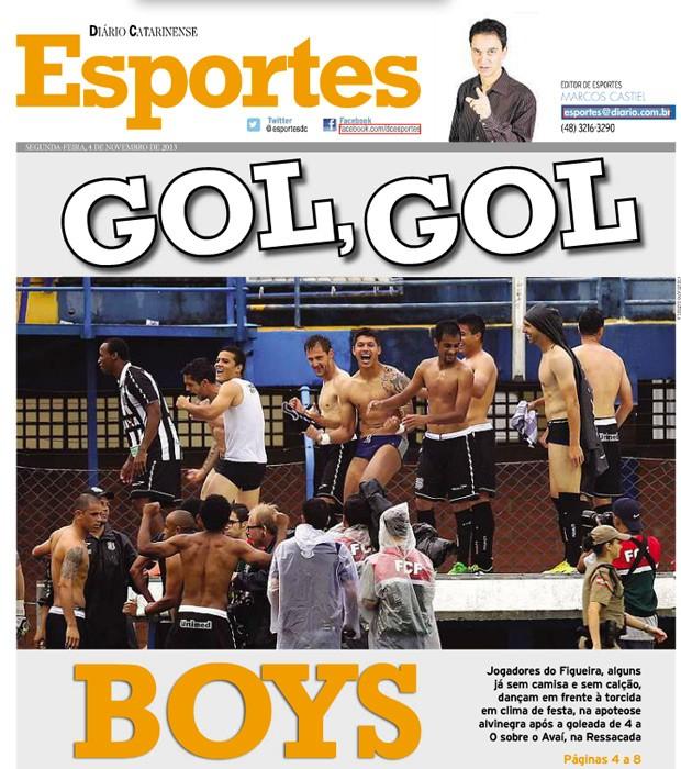 Capa do Diário Catarinense brinca com a festa dos jogadores que, de cueca, comemoraram vitória no clássico contra o Avaí (Foto: Reprodução SporTV)