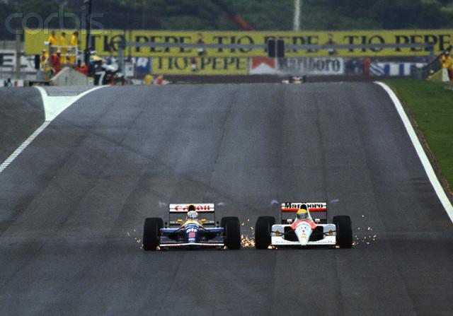 Mansell y Senna en la recta de meta del Gran Premio de España | Foto: taringa.net