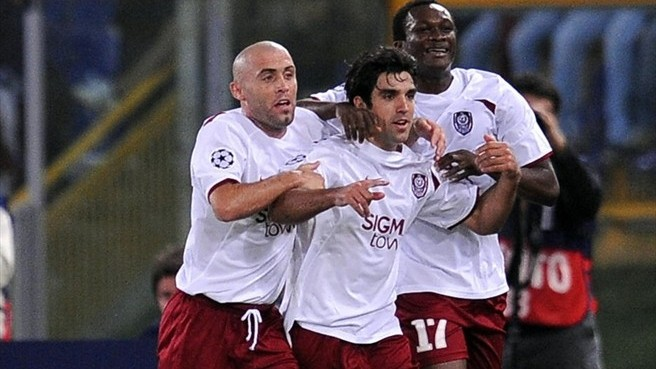 Culio celebrando uno de sus goles contra la Roma
